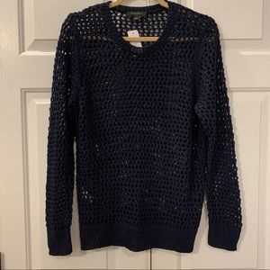 NWT Ann Taylor Navy Open Weave Sweater Size Large